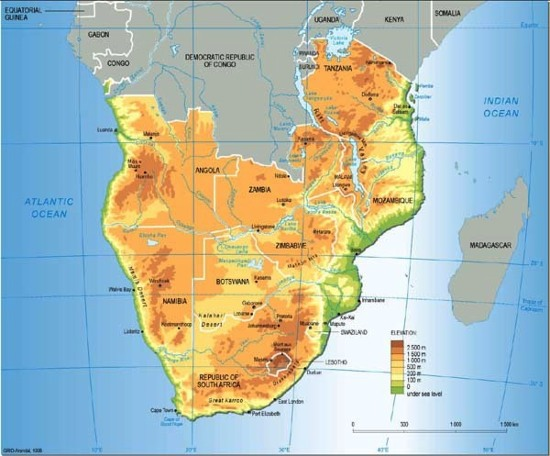 Mapa político de África del Sur. GRID-Arendal