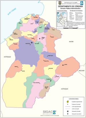 Mapa político de Córdoba (Colombia). IGAC