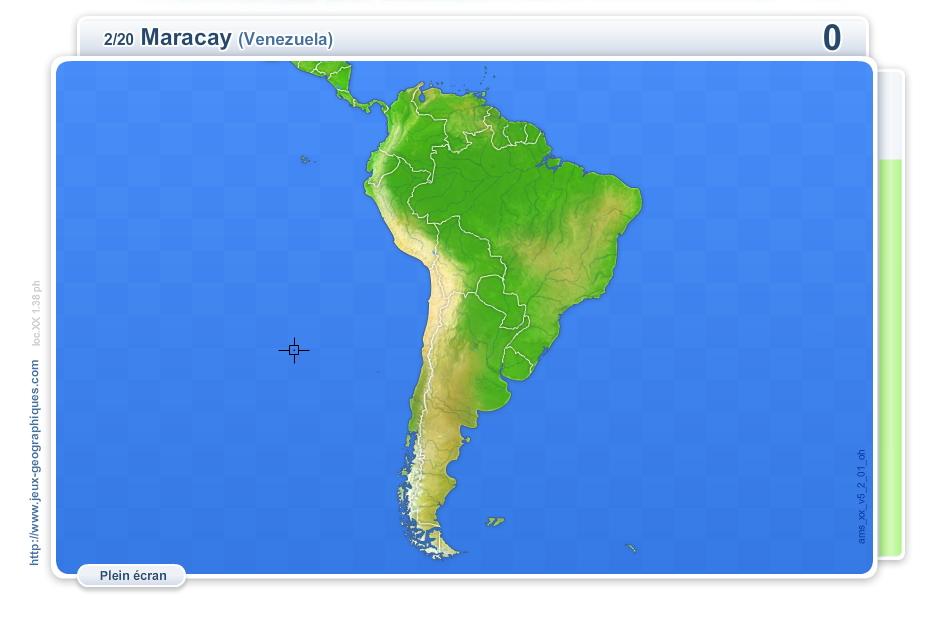 Villes d'Amérique du Sud. Jeux géographiques