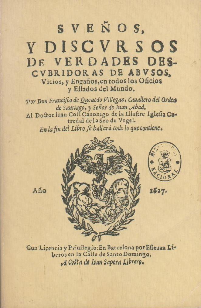 Portada original de la obra Sueños y Discursos, 1627