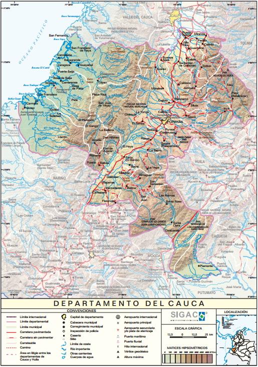 Mapa físico de Cauca (Colombia). IGAC