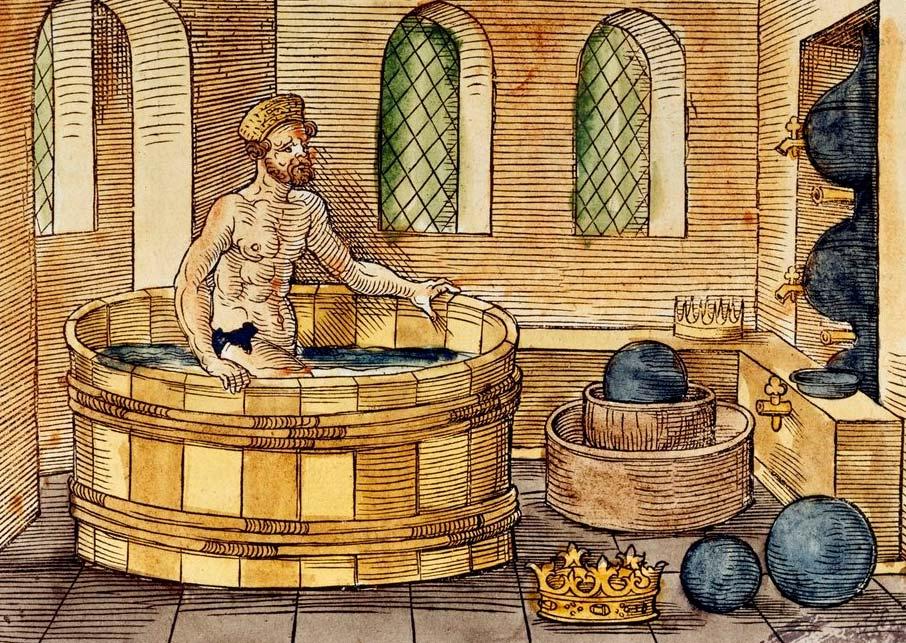 Dibujo que representa el sistema de medición del agua inventado por Arquímedes