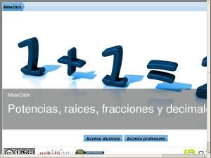 MateClick - Potencias, raíces, fracciones y decimales