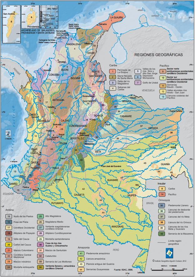 Mapa de Regiones Geográficas de Colombia. IGAC