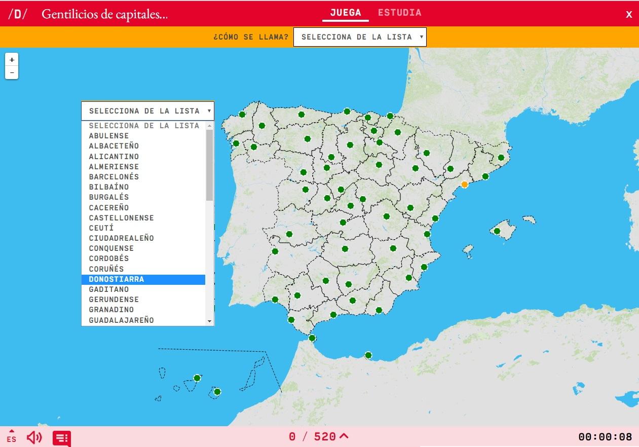 Mapa Para Jugar Cómo Se Llama Gentilicios De Capitales De Provincia De España Mapas Interactivos