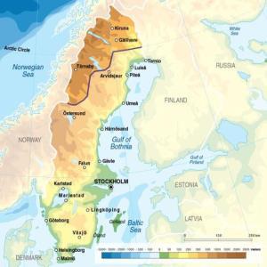 Mapa físico de Suecia. GRID-Arendal
