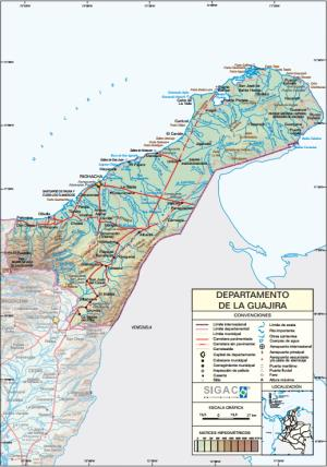 Mapa físico de La Guajira (Colombia). IGAC