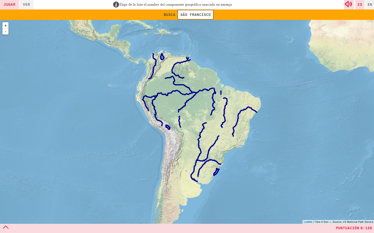 Interactive map. Where is it? Rivers and lakes of South America ...