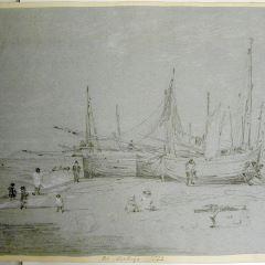 Barcas en la playa de Hastings (Inglaterra)