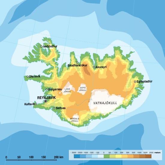 Mapa físico de Islandia. GRID-Arendal