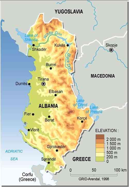 Mapa físico de Albania. GRID-Arendal
