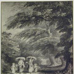 Bosque con recolectores de leña
