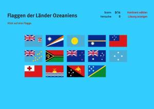 Flaggen der Länder Ozeaniens. Welt-Quiz Geographie