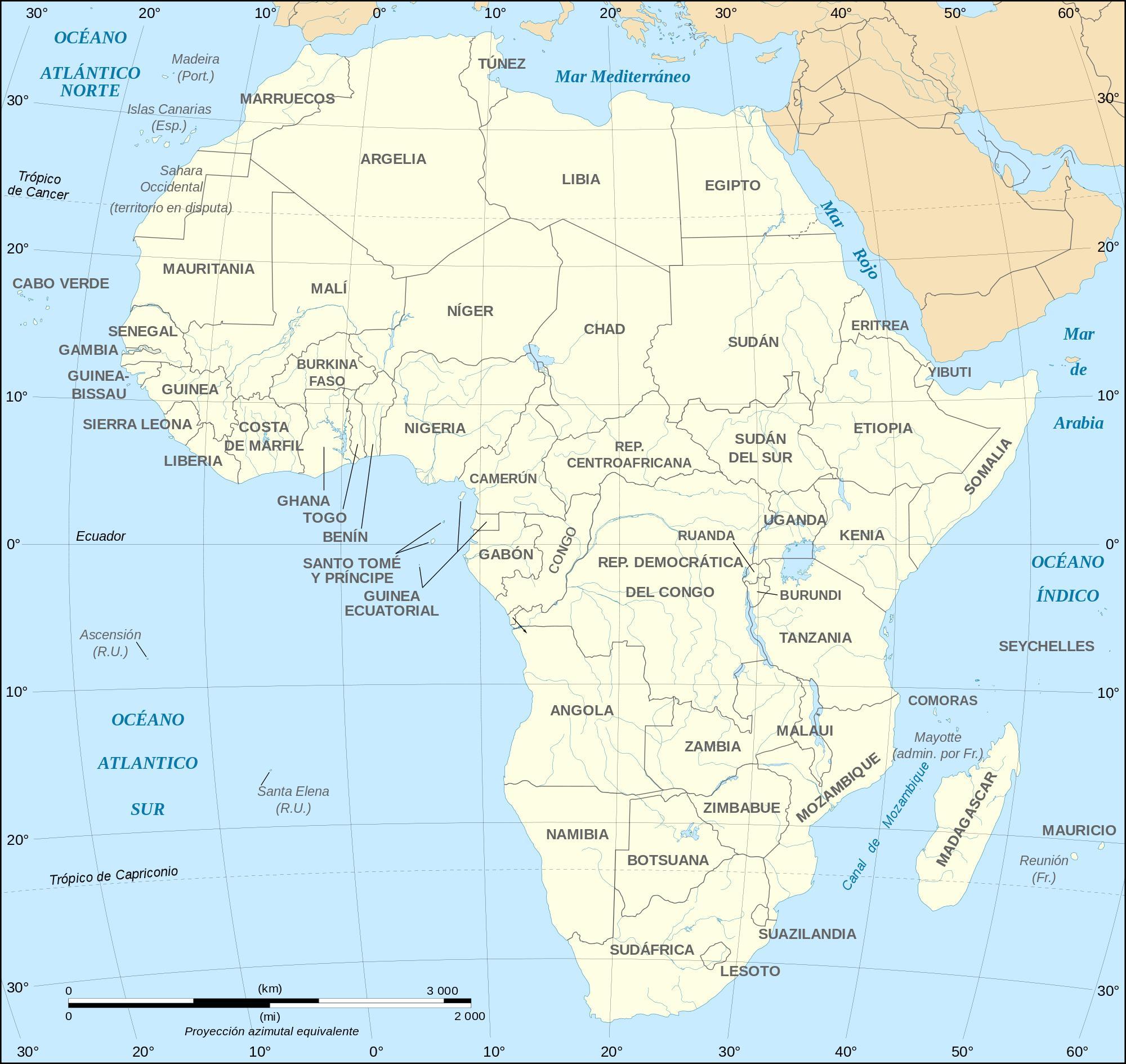África: Países, Regiones y Capitales