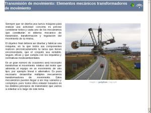 Transmisión de movimiento: Elementos mecánicos transformadores de movimiento