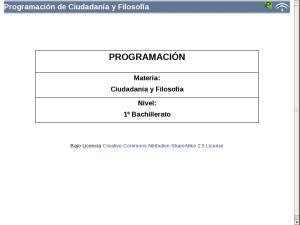Bachillerato Primer Curso - Programación Filosofía y Ciudadanía