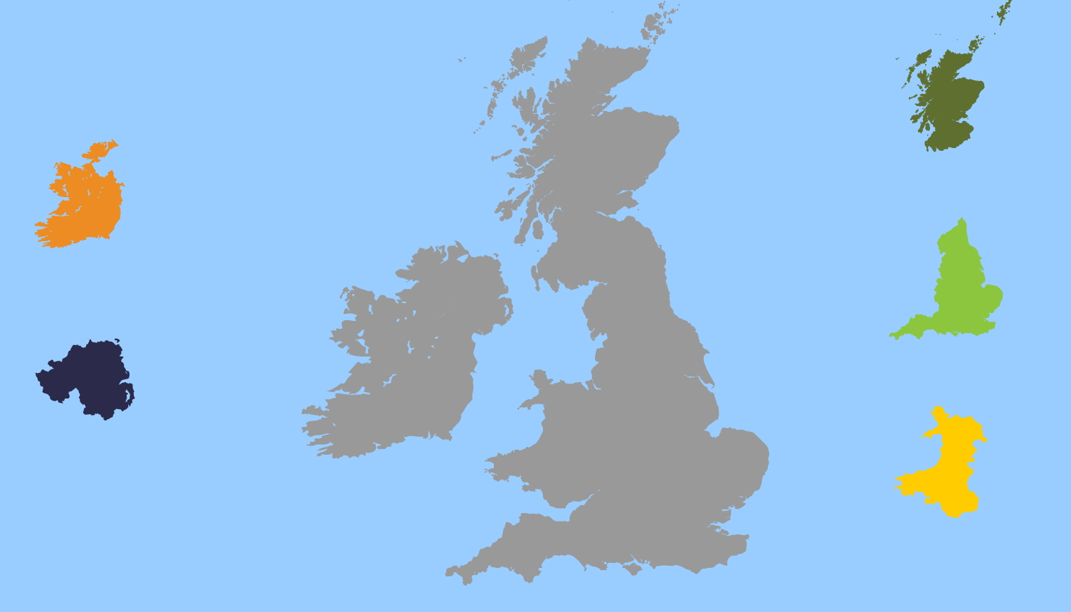 Countries puzzle of United Kingdom and Ireland. Toporopa