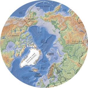 Mapa de relieve del Ártico. GRID-Arendal