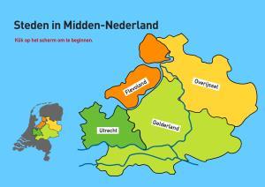 Steden in Midden-Nederland. Topografie van Nederland