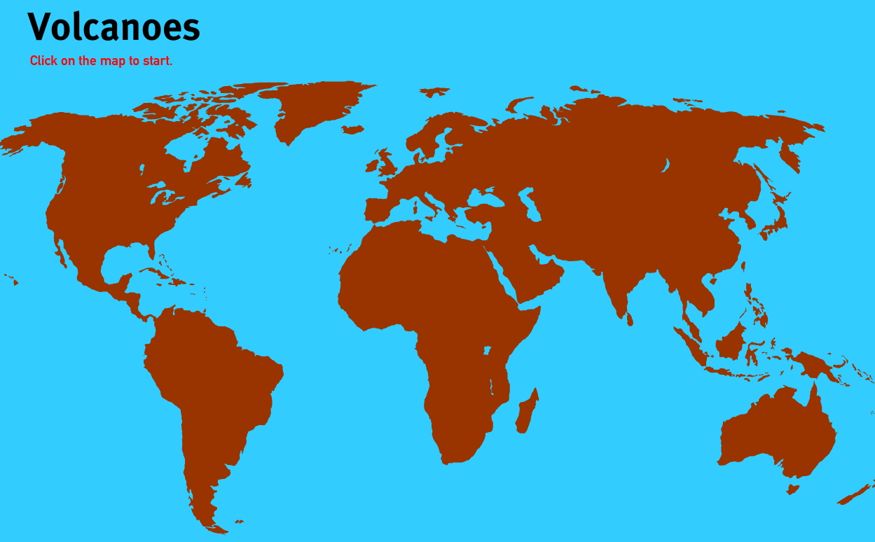 Volcanoes of the World. World Geography Games