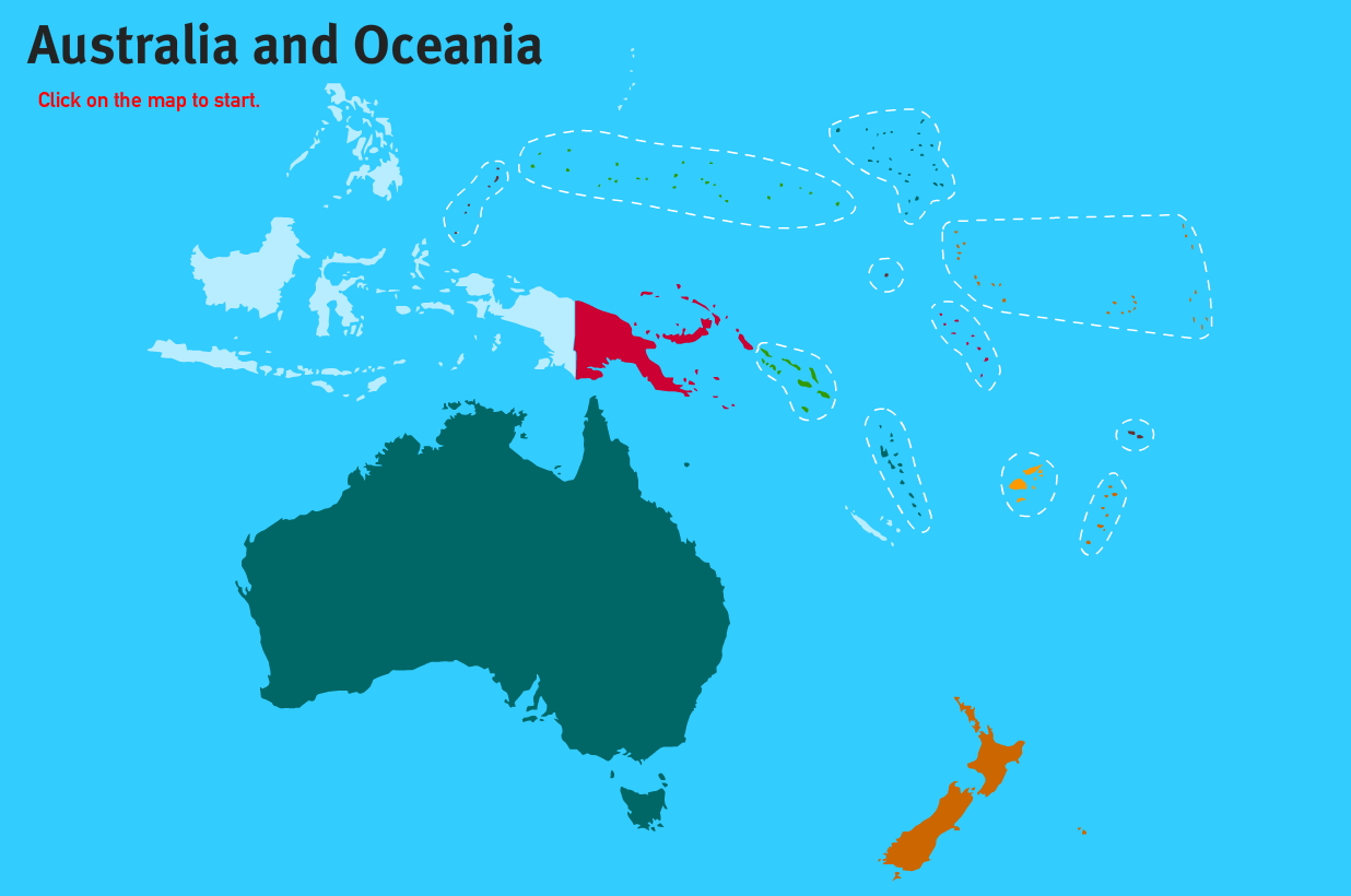 Countries of Oceania. World Geography Games