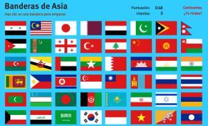 Banderas de Asia. Juegos de Geografía