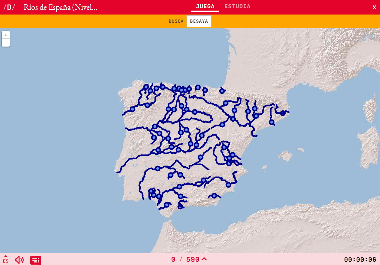 Mapa Rios España Interactivo.Mapa Para Jugar Donde Esta Rios De Espana Nivel Dificil