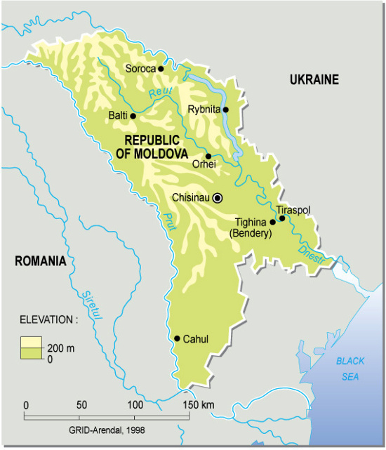 Mapa físico de la República de Moldavia. Grid-Arendal