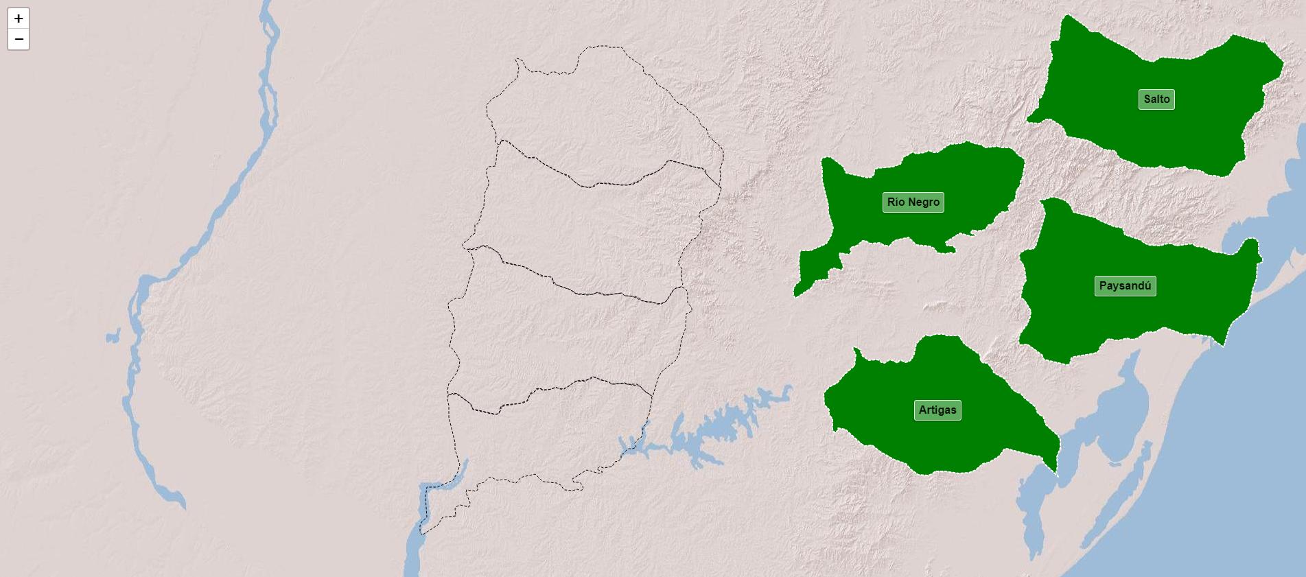 Departaments de la regió nord-oest d'Uruguai
