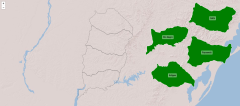 Départements de la région nord-ouest de l'Uruguay