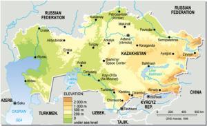 Mapa de relieve de Kazajistán. Grid-Arendal