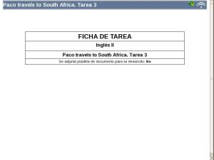 Paco travels to South Africa: Tarea 3