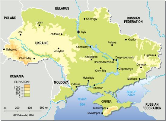 Mapa físico de Ucrania. GRID-Arendal