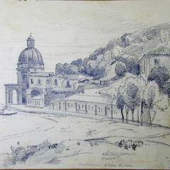 Vista de localidad costera con templo (Italia)