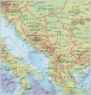 Mapa de relieve  de los Balcanes. GRID-Arendal