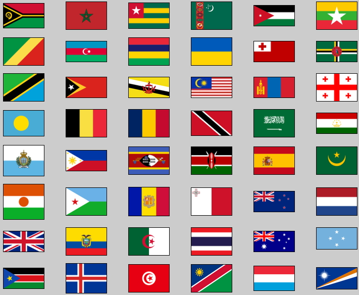 Flags of world countries. Lizard Point