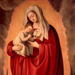 Virgen con el Niño sobre creciente de luna