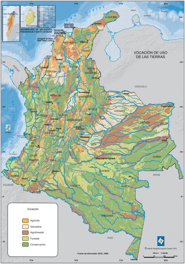 Mapa de vocación de uso de las tierras de Colombia. IGAC