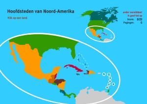 Hoofdsteden van Noord-Amerika. Topo Wereld