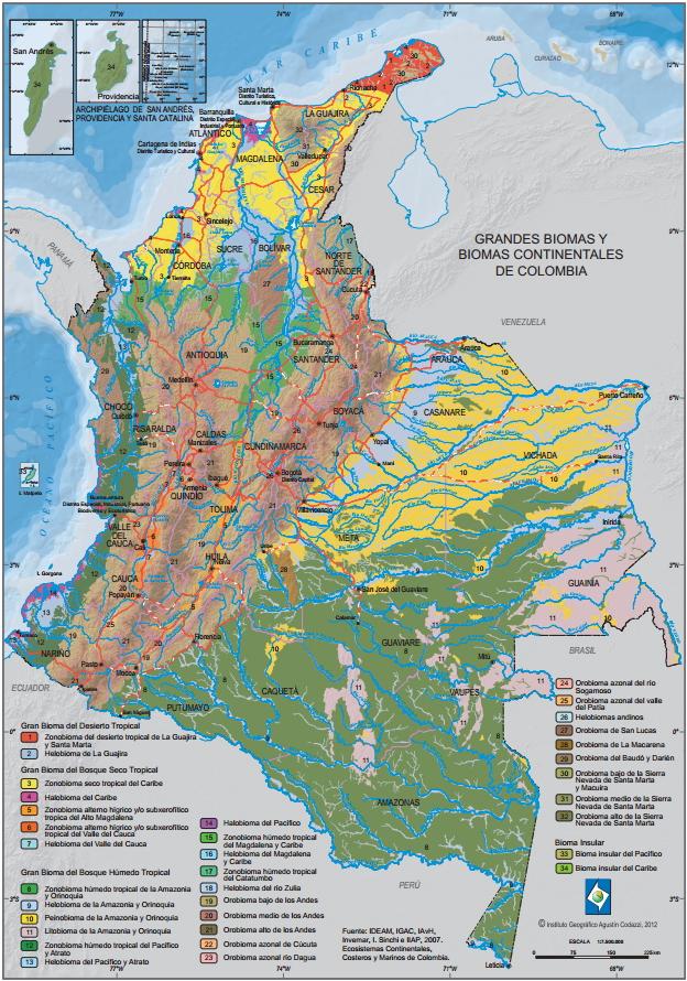 Mapa de Grandes Biomas de Colombia. IGAC