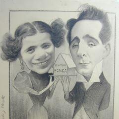 Caricatura de los actores Loreto Prado y Enrique Chicote