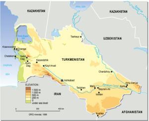 Mapa físico de Turkmenistán. GRID-Arendal