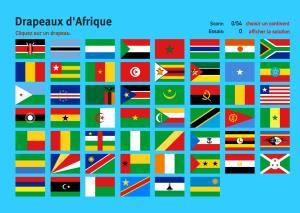 Drapeaux d'Afrique. Jeux de Géographie