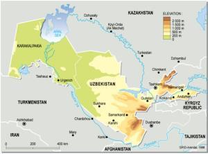 Mapa físico de Uzbekistán. GRID-Arendal