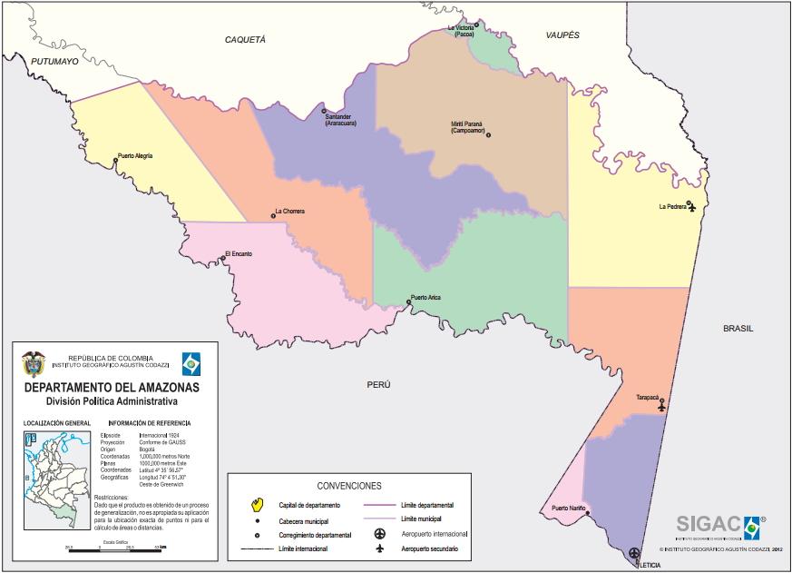 Mapa político de Amazonas (Colombia). IGAC