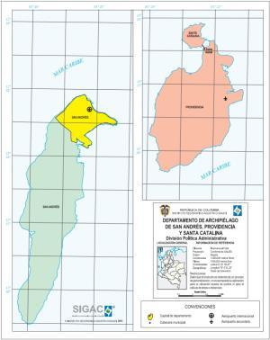 Mapa político de Archipiélago de San Andrés, Providencia y Santa Catalina (Colombia). IGAC