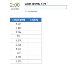 Countries bordering Brazil (JetPunk)