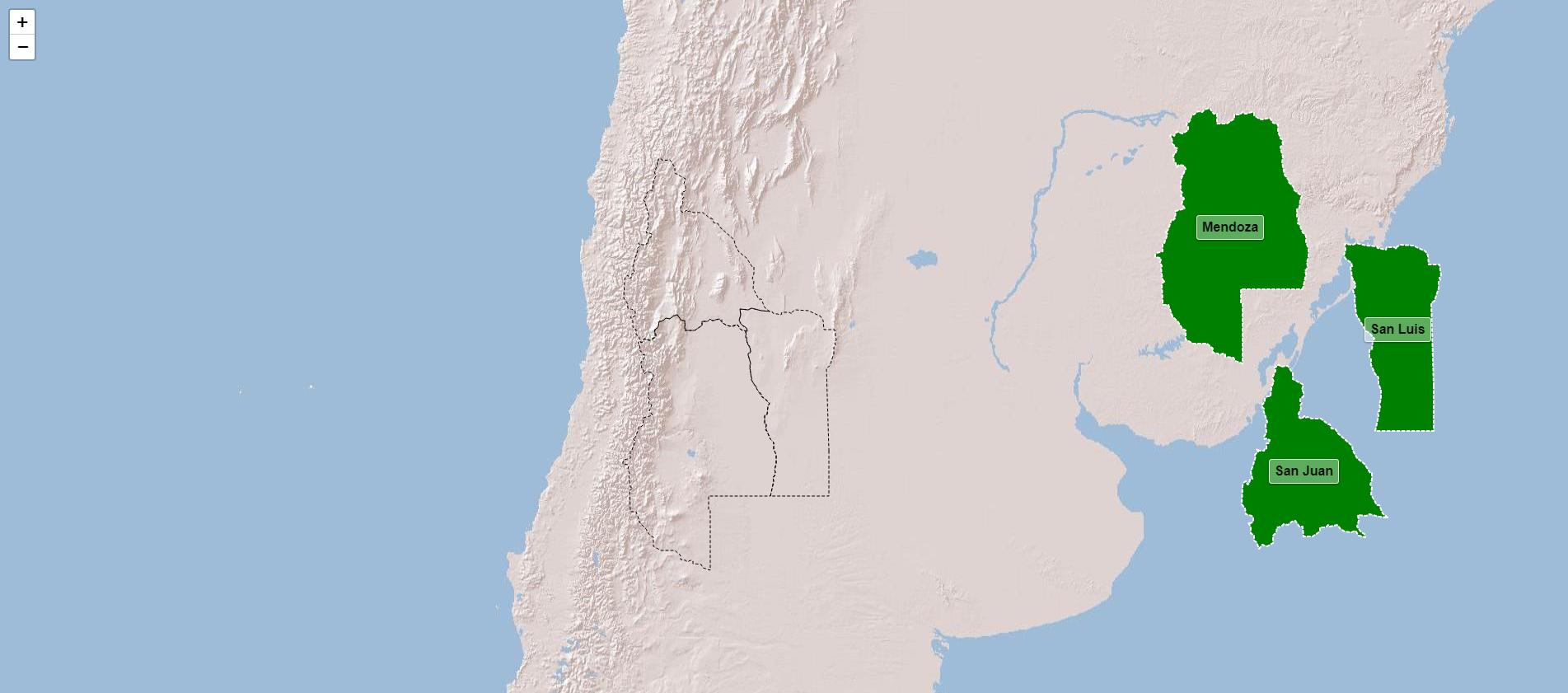 Províncias da região de Cuyo na Argentina