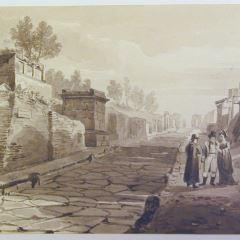 Calle de las tumbas en Pompeya, Italia