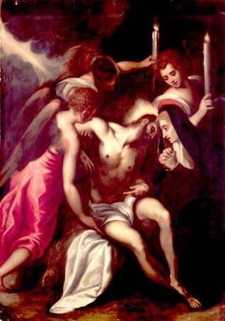Cristo muerto sostenido por ángeles y adorado por la Virgen